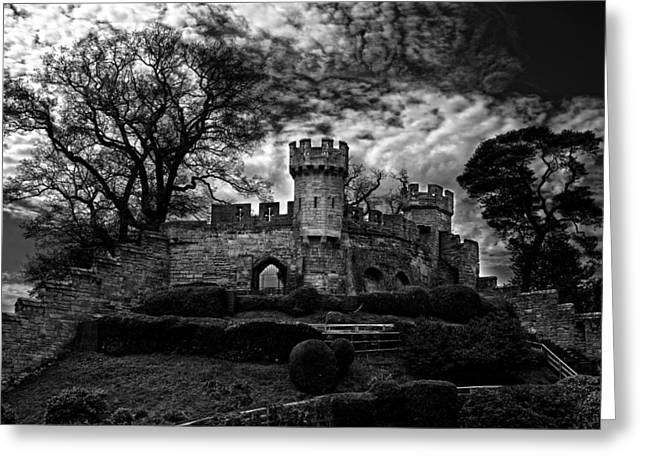 Warwick Greeting Cards - Ruins of Warwick in Black and White Greeting Card by Laura George