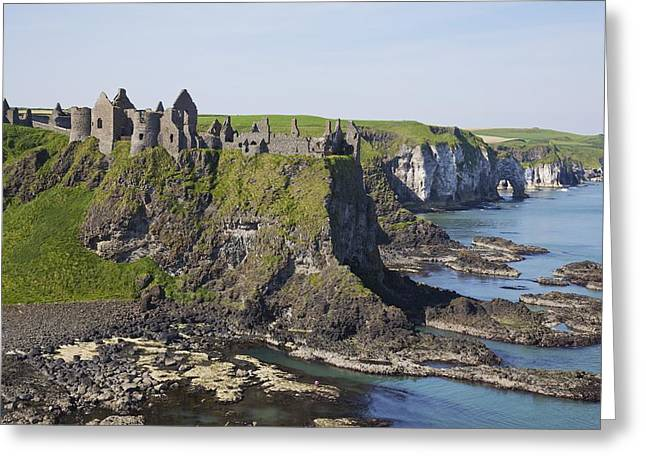 Devastated Greeting Cards - Ruins On Coastal Cliff Greeting Card by Patrick Swan