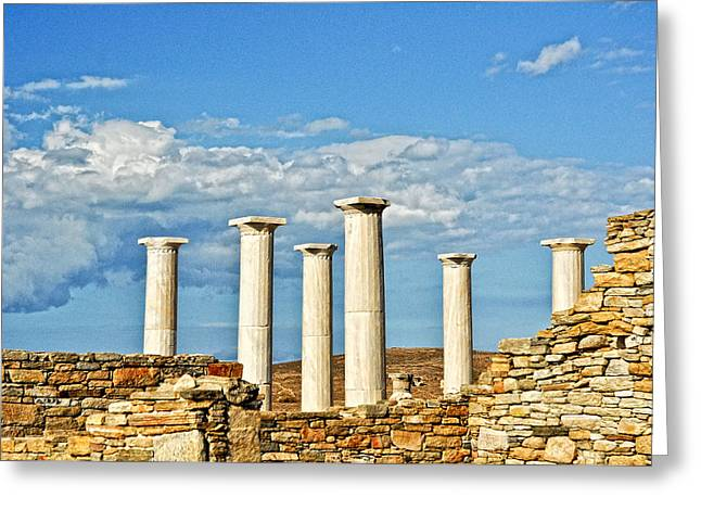 Delos Greeting Cards - Ruins On The Island Of Delos Greeting Card by Linda Pulvermacher