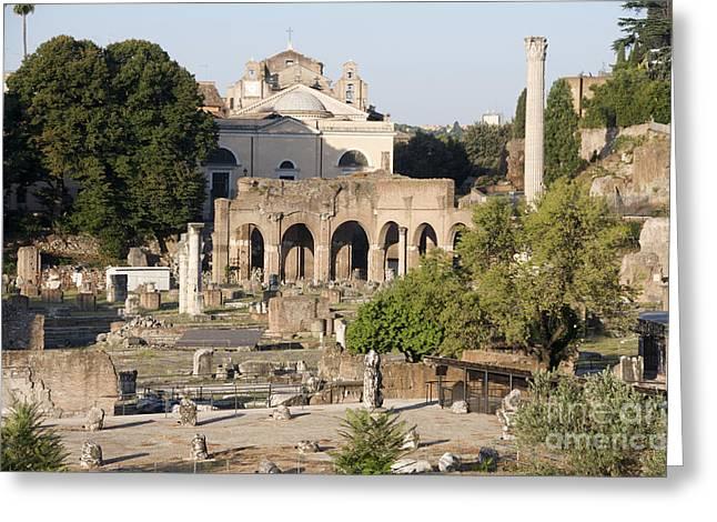 Sight Seeing Greeting Cards - Ruins. Roman Forum Greeting Card by Bernard Jaubert