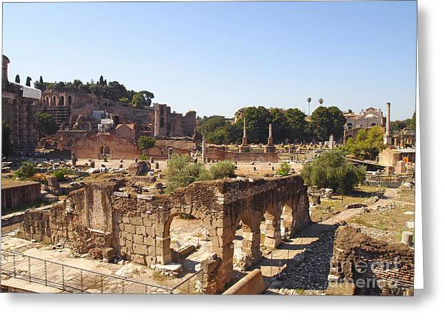 Ruins. Roman Forum. Rome Greeting Card by BERNARD JAUBERT
