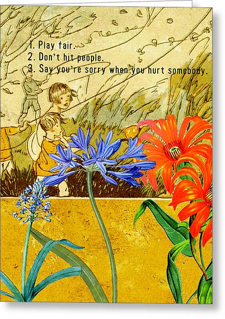 Kites Greeting Cards - Rules for Play Greeting Card by Bonnie Bruno