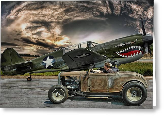 War Planes Greeting Cards - Rumble With The Warhawk .... Greeting Card by Rat Rod Studios