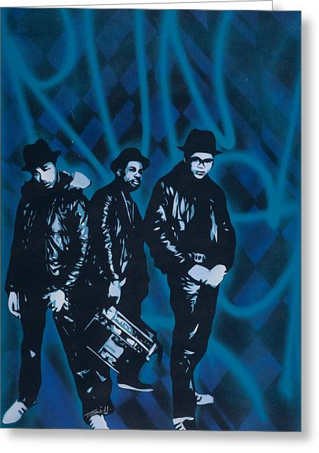 Hiphop Greeting Cards - Run Dmc Greeting Card by Iosua Tai Taeoalii