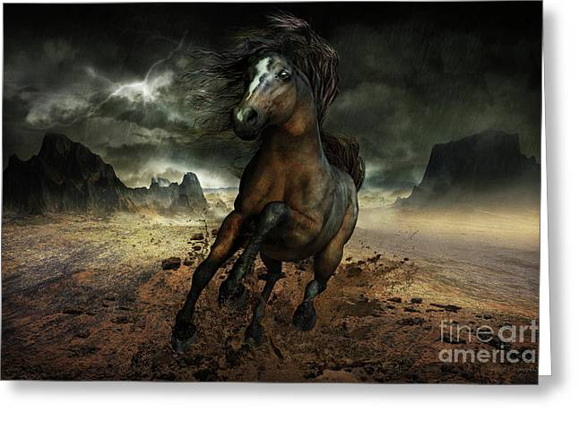 Contemporary Horse Greeting Cards - Run Like the Wind Greeting Card by Shanina Conway