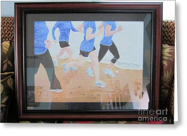 Commissions Pastels Greeting Cards - Run To Remember Framed Greeting Card by Maris Sherwood