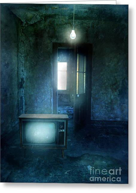 Screen Doors Greeting Cards - Rundown Room with Old TV and Bare Lightbulb Greeting Card by Jill Battaglia