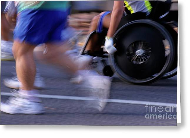 Wellbeing Greeting Cards - Runners and disabled people in wheelchairs racing together Greeting Card by Sami Sarkis