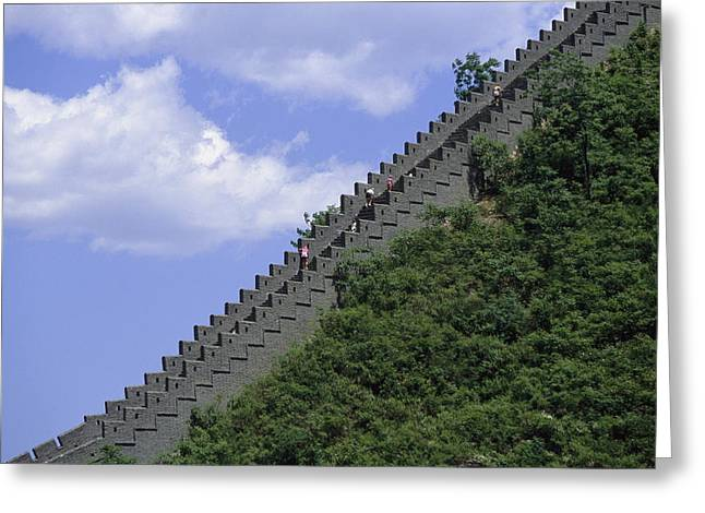 Runners In The Great Wall Marathon Greeting Card by Michael S. Yamashita