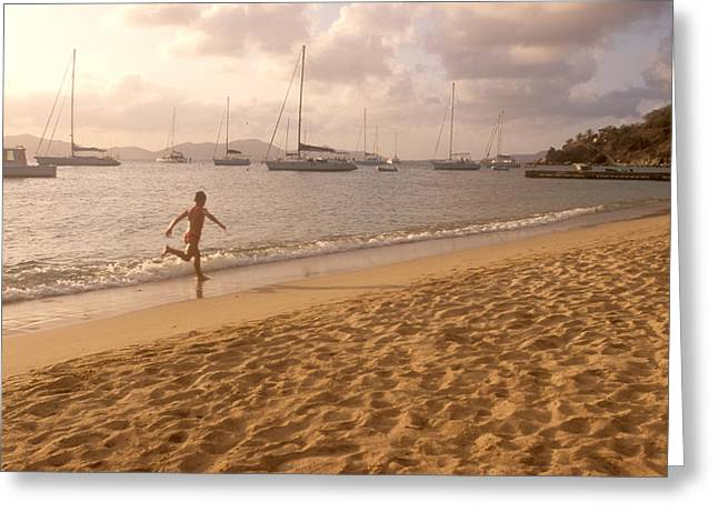 One Sailboat Greeting Cards - Running Along The Beach At Sunset Greeting Card by Michael S. Lewis