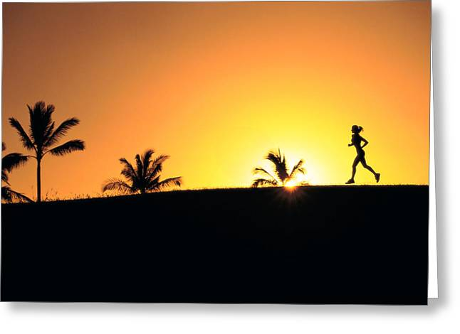 Running At Sunset Greeting Card by Dana Edmunds - Printscapes