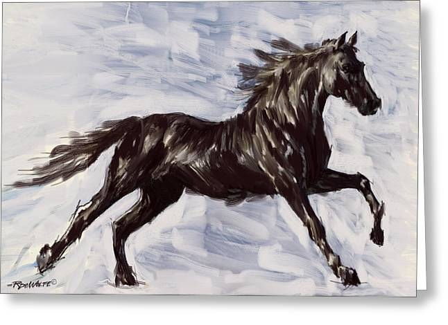 Wild Horse Digital Art Greeting Cards - Running Horse Greeting Card by Richard De Wolfe