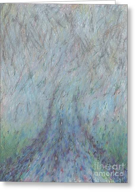Grey Clouds Drawings Greeting Cards - Running into Fog Greeting Card by Andy  Mercer