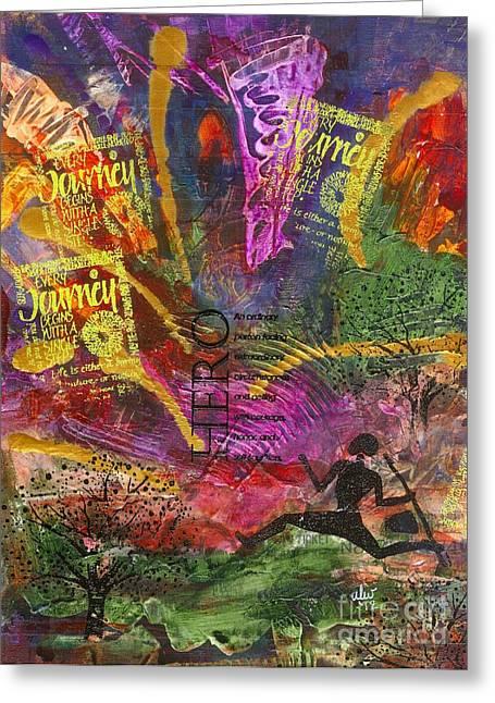 Survivor Art Greeting Cards - Running Man Greeting Card by Angela L Walker