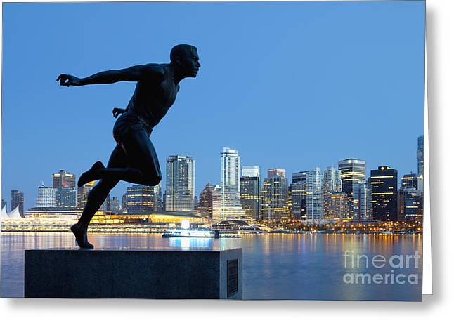 Morning Race Greeting Cards - Running Sculpture With a Downtown Background Greeting Card by Bryan Mullennix