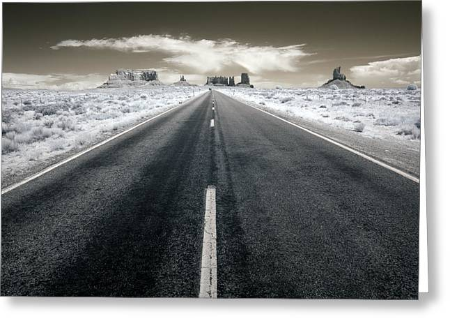 Infrared Greeting Cards - Running to the Edge of the World Greeting Card by Mike Irwin