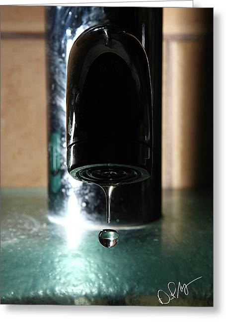 Faucet Greeting Cards - Running Water Greeting Card by David Paul Murray