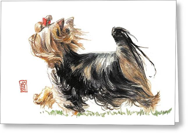 Debra Jones Greeting Cards - Running Yorkie Greeting Card by Debra Jones