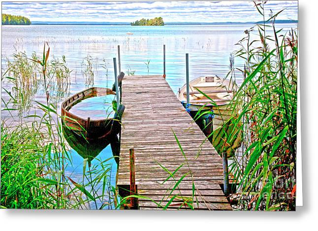 Landing Stage Greeting Cards - Runway to the lake Greeting Card by Heiko Koehrer-Wagner