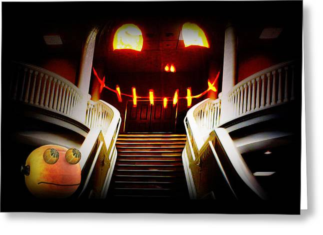 Tricks Mixed Media Greeting Cards - Rupert at the Staircase Greeting Card by Gravityx Designs