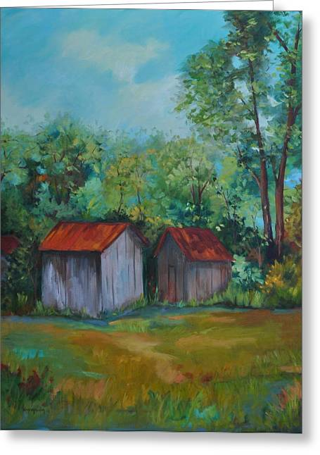 Outbuildings Paintings Greeting Cards - Rural Architecture Greeting Card by Ginger Concepcion