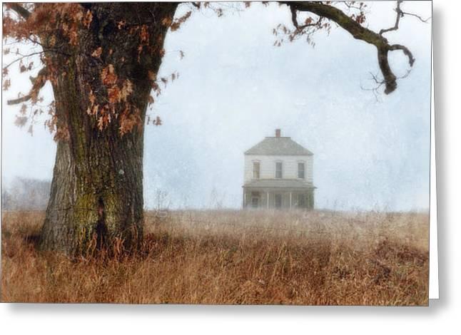 Rural Farmhouse and Large Tree Greeting Card by Jill Battaglia