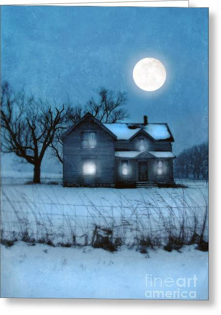 Snowy Night Night Greeting Cards - Rural Farmhouse Under Full Moon Greeting Card by Jill Battaglia