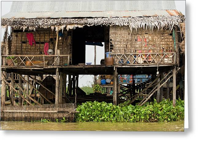 Bamboo House Greeting Cards - Rural Fishermen Houses in Cambodia Greeting Card by Artur Bogacki