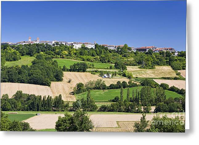 Southern France Greeting Cards - Rural French Town and Landscape Greeting Card by Jon Boyes