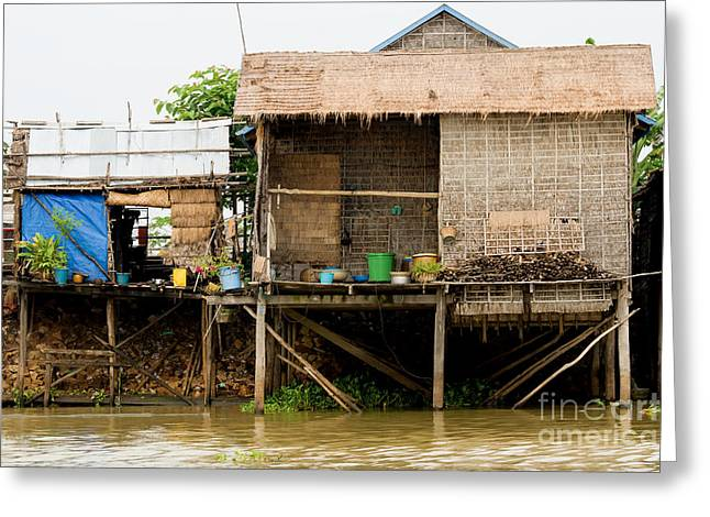 Bamboo House Photographs Greeting Cards - Rural Houses in Cambodia Greeting Card by Artur Bogacki