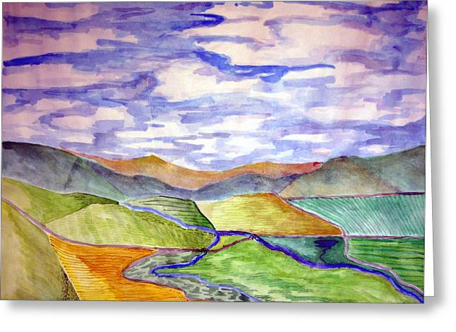 Jame Hayes Paintings Greeting Cards - Rural Greeting Card by Jame Hayes