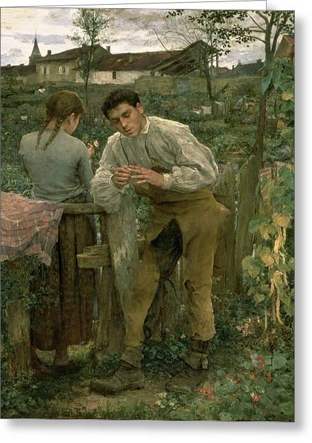 Dated Greeting Cards - Rural Love Greeting Card by Jules Bastien Lepage