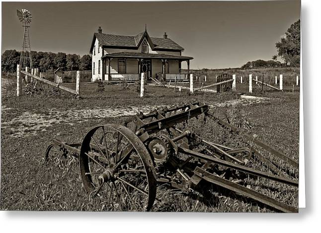 Grey Roots Museum Greeting Cards - Rural Ontario sepia Greeting Card by Steve Harrington