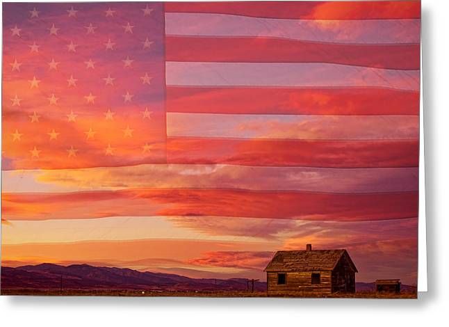 Prairie Sunset Landscape Art Print Greeting Cards - Rural Patriotic Little House On The Prairie Greeting Card by James BO  Insogna