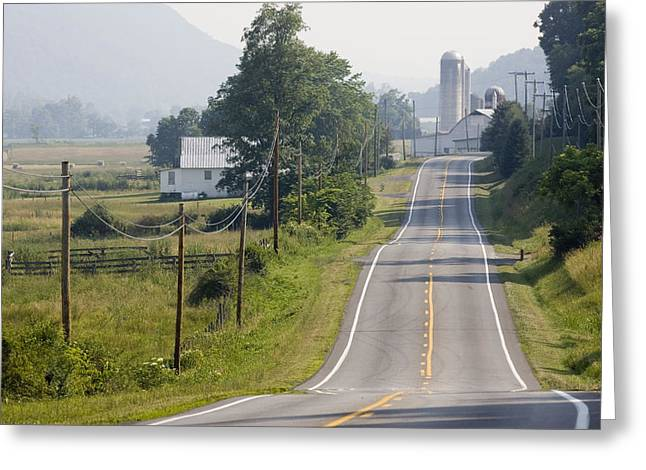 Virginia Farm Greeting Cards - Rural Road, Phone Lines And Scenic Greeting Card by Skip Brown