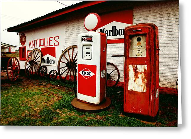 Rural Roadside Antiques Greeting Card by Toni Hopper