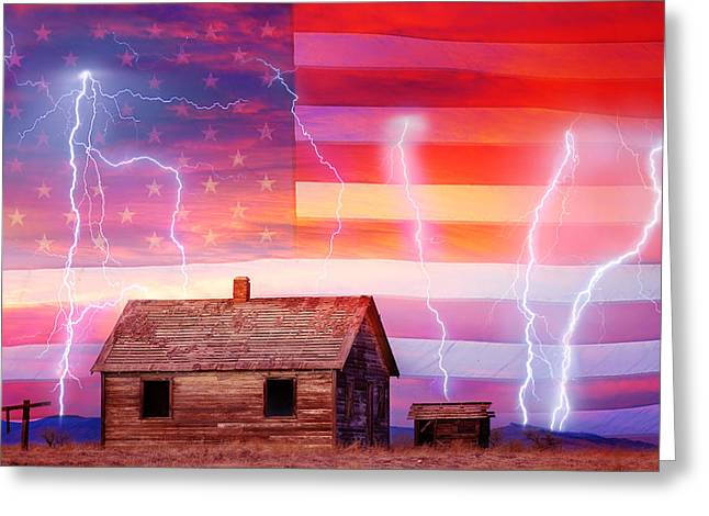 Prairie Sunset Landscape Art Print Greeting Cards - Rural Rustic America Storm Greeting Card by James BO  Insogna