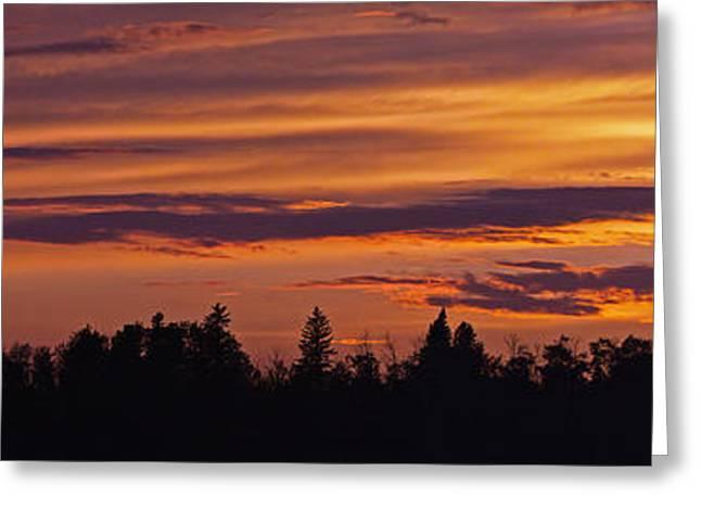 Lanscape Greeting Cards - Rural Skyline Sunset Greeting Card by David Kleinsasser