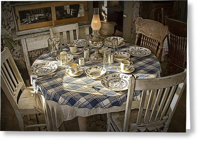 Table Cloth Greeting Cards - Rural Table Setting for Four No.3121 Greeting Card by Randall Nyhof