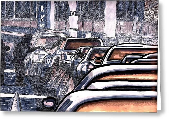 Noise . Sounds Drawings Greeting Cards - Rush Hour Approach To Midtown Tunnel NYC Greeting Card by Al Goldfarb