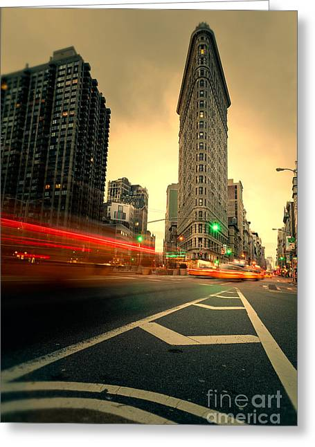 Nyc Taxi Greeting Cards - Rushing into another day Greeting Card by John Farnan