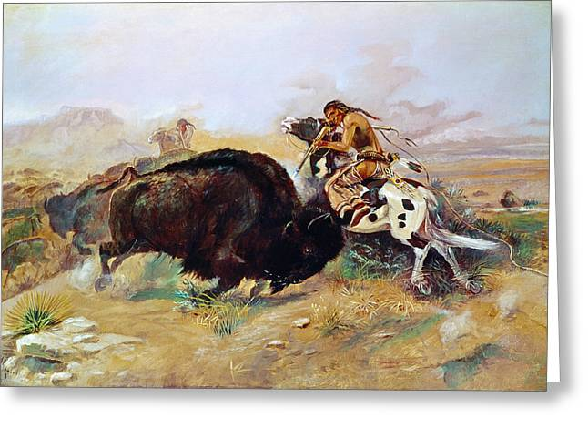 The American Buffalo Greeting Cards - Russell: Buffalo Hunt Greeting Card by Granger