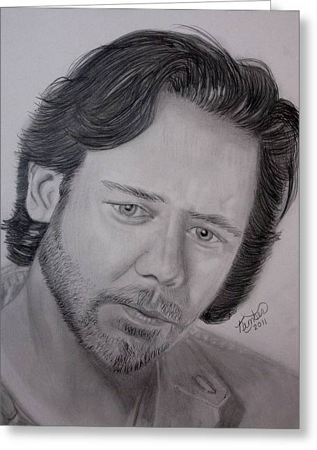 Hot Male Drawings Greeting Cards - Russell Crowe  Greeting Card by Kimber  Butler