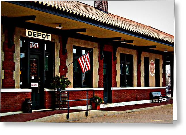 Russellville Arkansas Greeting Cards - Russellville Train Depot Greeting Card by Tammy Chesney