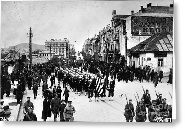 Russian Revolution Greeting Cards - RUSSIA: ALLIED TROOPS, c1919 Greeting Card by Granger