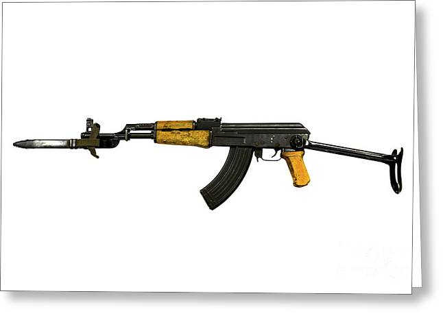Ak 47 Greeting Cards - Russian Ak-47 Assault Rifle Greeting Card by Andrew Chittock