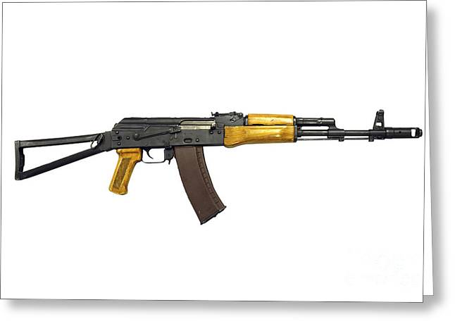 Ak 47 Greeting Cards - Russian Ak-74 Assault Rifle Greeting Card by Andrew Chittock