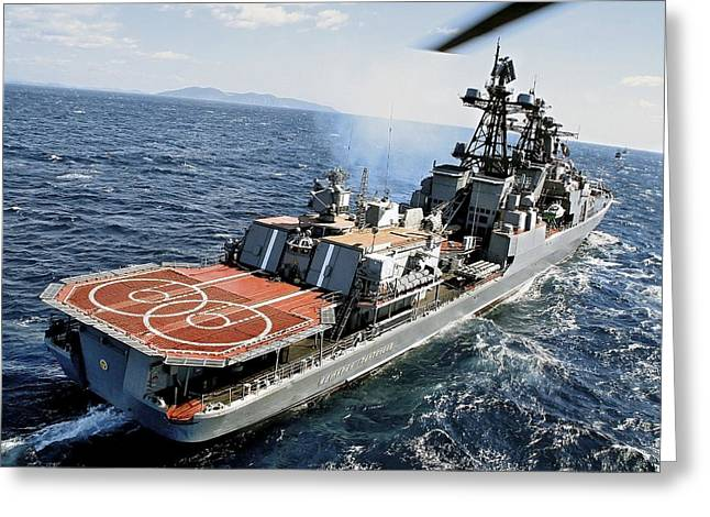 Pirate Ships Greeting Cards - Russian Destroyer Admiral Panteleyev Greeting Card by Ria Novosti