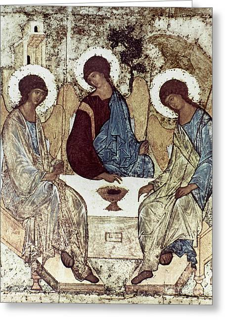 Rublev Trinity Greeting Cards - Russian Icons: The Trinity Greeting Card by Granger