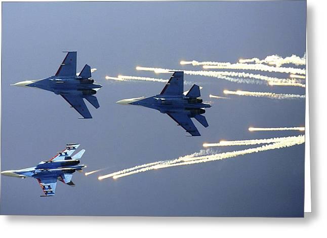 Smoke Trail Greeting Cards - Russian Knights Aerobatic Team Greeting Card by Ria Novosti